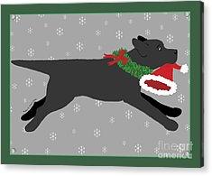 Black Labrador Steals Santa's Hat Acrylic Print