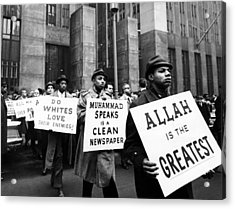 Black Muslims Picket Front Of New York Acrylic Print