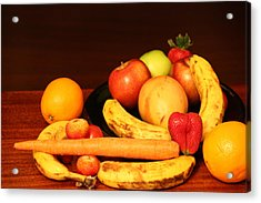 Black Plate And Fruit Acrylic Print by Andrea Nicosia