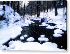 Black River Winter Scenic Acrylic Print by George Oze