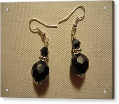 Black Sparkle Drop Earrings Acrylic Print by Jenna Green