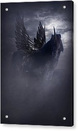 Black Unicorn Pegasus Fantasy Artwork Acrylic Print