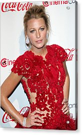 Blake Lively Wearing A Marchesa Dress Acrylic Print