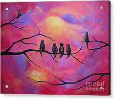 Acrylic Print featuring the painting Blazing Ruby Sky by Stacey Zimmerman