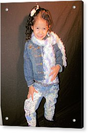 Bleach And Painted Jeans Acrylic Print by HollyWood Creation By linda zanini