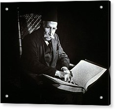 Blind Man Reading A Braille Book, Ca Acrylic Print by Everett