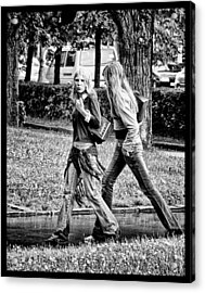 Acrylic Print featuring the photograph Blond Girls In Russian Park by Rick Bragan