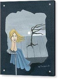 Blond In The Wind Surrealistic Landscape Windy Tree Woman Head In Blue And Yellow  Acrylic Print by Rachel Hershkovitz