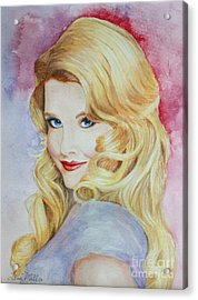 Blond Pinup  Acrylic Print by Terri Maddin-Miller