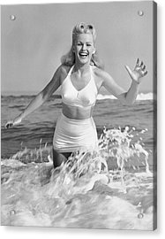 Blonde Woman In Two Piece Bathing Suit Acrylic Print by George Marks