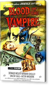 Blood Of The Vampire, Woman On Table Acrylic Print by Everett