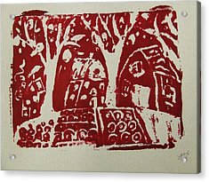 Acrylic Print featuring the painting Blood Rituals In Red For The Mayan Forest Agriculture With Trees Houses And Land Plots by M Zimmerman