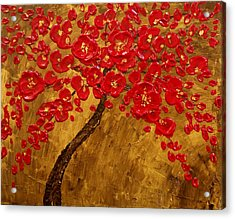 'blossom' Original Impasto Palette Knife Abstract Painting Cherry Tree Acrylic Print by Aboli Salunkhe