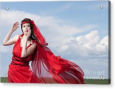 Blown Away Woman In Red Series Acrylic Print by Cindy Singleton