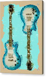 Blue Abstract Guitars Acrylic Print by David G Paul