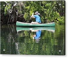 Blue Amongst The Greens - Canoeing On The St. Marks Acrylic Print by Marilyn Holkham