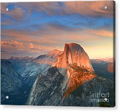 Blue And Orange Sunset Over Half Dome Yosemite Acrylic Print by Nature Scapes Fine Art