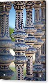 Blue And White Ceramic Fence Acrylic Print by Kim Haddon Photography
