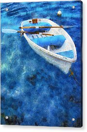 Blue And White. Lonely Boat. Impressionism Acrylic Print by Jenny Rainbow