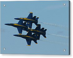 Blue Angels Diamond From Right Acrylic Print by Samuel Sheats