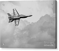 Blue Angels In The Cloud . Black And White Photograph Acrylic Print by Wingsdomain Art and Photography