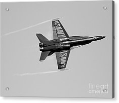 Blue Angels With Wing Vapor . Black And White Photo Acrylic Print by Wingsdomain Art and Photography