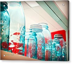 Blue Ball Canning Jars Acrylic Print by Paulette B Wright