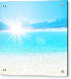 Blue Beach Background Acrylic Print by Anna Om