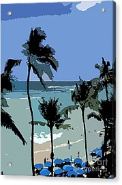 Blue Beach Umbrellas Acrylic Print by Karen Nicholson