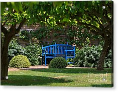 Blue Bench By The Garden Wall Acrylic Print