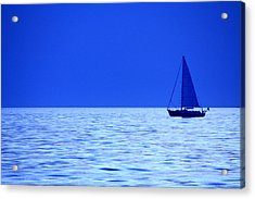 Acrylic Print featuring the photograph Blue Boat by Coby Cooper