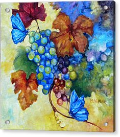 Blue Butterflies And Grapevine  Acrylic Print by Peggy Wilson