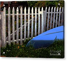 Blue Canoe Acrylic Print by Dale   Ford