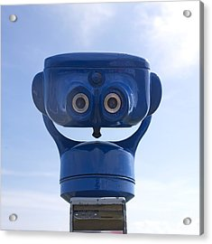 Blue Coin-operated Binoculars Acrylic Print by Bernard Jaubert