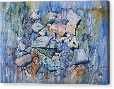 Acrylic Print featuring the painting Blue Creek Stones by Patsy Sharpe