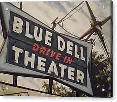 Blue Dell Drive In Theater Acrylic Print by James Guentner