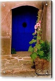 Blue Door And Pink Hollyhocks Acrylic Print