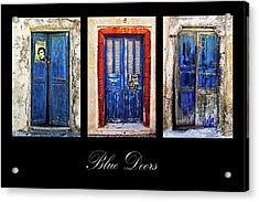 Blue Doors Of Santorini Acrylic Print by Meirion Matthias
