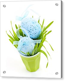 Blue Easter Eggs And Green Grass Acrylic Print by Elena Elisseeva