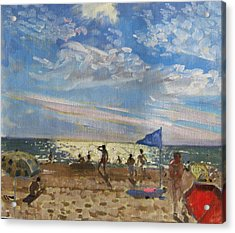 Blue Flag And Red Sun Shade Acrylic Print by Andrew Macara