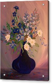Acrylic Print featuring the painting Blue Flowers 2 by Christy Saunders Church
