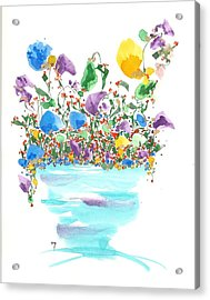 Blue Flowers And Vase Acrylic Print