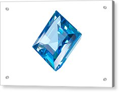 Blue Gem Isolated Acrylic Print by Atiketta Sangasaeng