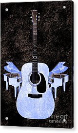 Blue Guitar Butterfly Acrylic Print by Andee Design