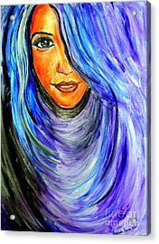 Acrylic Print featuring the painting Blue Hair by Amanda Dinan
