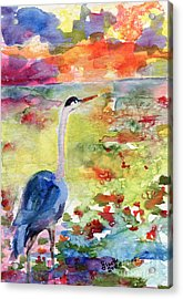 Blue Heron Sunset Watercolor By Ginette Acrylic Print by Ginette Callaway