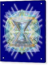 Blue High-starred Chalices On Flower Of Life Acrylic Print