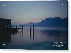 Blue Hour At Dawn On Lago Maggiore Acrylic Print by Heiko Koehrer-Wagner