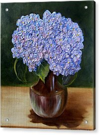 Acrylic Print featuring the painting Blue Hydrangea  by Susan Dehlinger