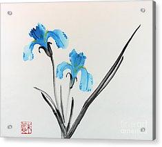 Acrylic Print featuring the painting Blue Iris I by Yolanda Koh